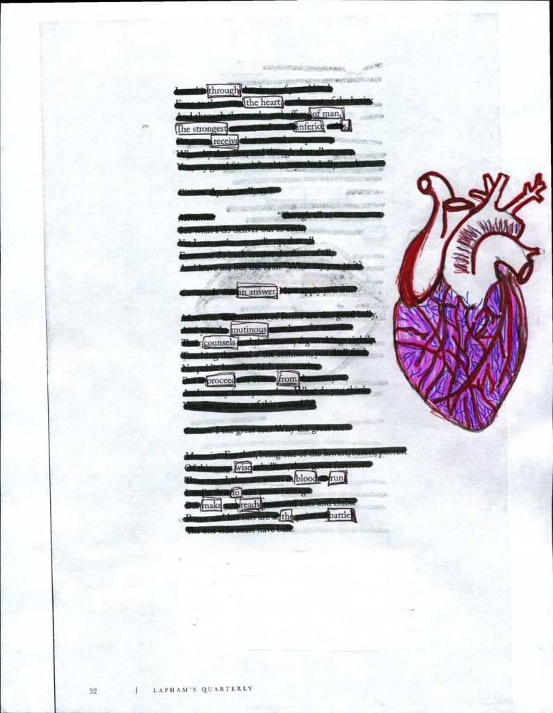 an image of blackout poetry with a drawing of an anatomically correct heart. the poem illustrates the importance of sacrifice in revolution